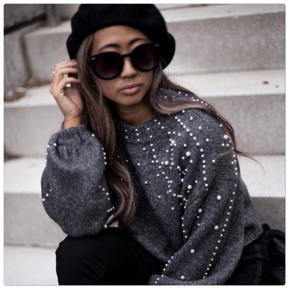 f3ecb904 Zara Sweaters | Flash Sale Cropped Pearl Sweater | Poshmark